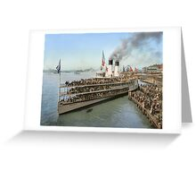 Sidewheeler Tashmoo leaving wharf in Detroit, ca 1901 Colorized Greeting Card