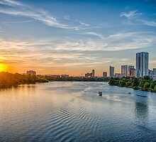 Sunset over Ladybird Lake Austin by Tod and Cynthia Grubbs