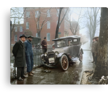 Auto Wreck in Washington DC, 1921. Colorized Metal Print