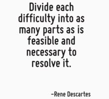 Divide each difficulty into as many parts as is feasible and necessary to resolve it. by Quotr