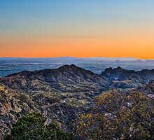 Tucson Mountains at sunset by Tod and Cynthia Grubbs