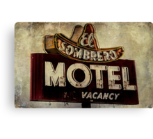 Vintage El Sombrero Motel Sign, Salinas, CA. Canvas Print