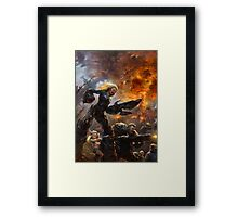 Parents are escorting their child to the postapocalyptical kindergarten  Framed Print