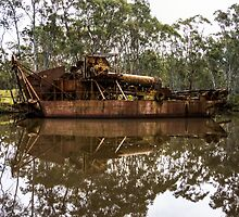 Rusting Barge at the Dragline in Maldon by Steven Jodoin