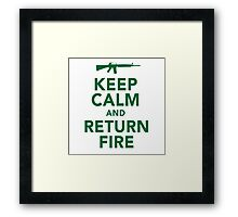 Funny 'Keep Calm and Return Fire' Machine Gun T-Shirt Framed Print