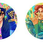 Stardust Crusaders Stickers: Jotaro & Kakyoin by cocokat