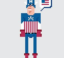 Pixel Captain America by Sergei Vozika