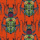 flower beetle orange (card) by Sharon Turner