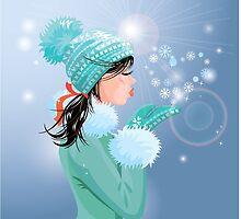 Beautiful brunette girl with warm blue winter hat  by lian2011