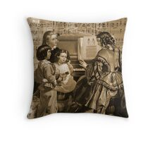 Thou Art So Dear Music - Mom And Children At Piano Throw Pillow