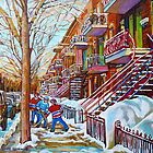 STREET HOCKEY PAINTING MONTREAL SCENES by Carole  Spandau