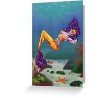 Sun Starfish Mermaid Pin Up Greeting Card
