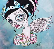 Cupcake Cutie - Day of the Dead Rockabilly Sweet Girl by Concetta Kilmer