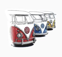 Type 2 Split Bus - Tres Amigos Signed Drawing Print by roudyb