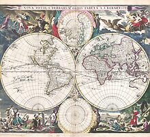Vintage Map of The World (1685)  by BravuraMedia