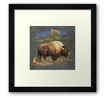 brief altercation - bison and prairie dog Framed Print