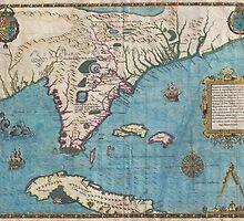 Vintage Map of Florida (1591)  by BravuraMedia