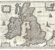 Vintage Map of England and Ireland (1631)  by BravuraMedia