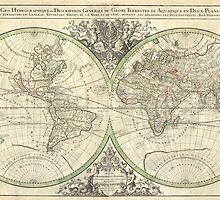 Vintage Map of The World (1691) by BravuraMedia