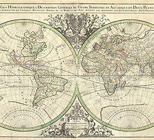 Vintage Map of The World (1691) by BravuraMedia