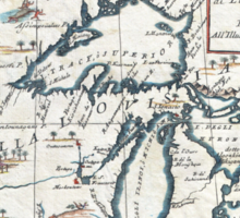 Vintage Map of The Great Lakes (1696)  Sticker