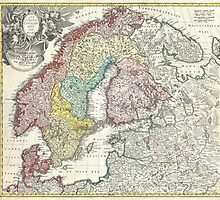 Vintage Map of Scandinavia (1730)  by BravuraMedia
