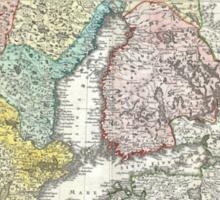 Vintage Map of Scandinavia (1730)  Sticker