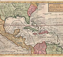 Vintage Map of The Caribbean (1732) by BravuraMedia