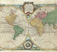 Vintage Map of The World (1744) by BravuraMedia