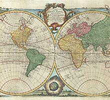 Vintage Map of The World (1744) by BravuraMedia