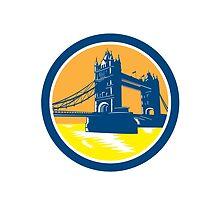 Tower Bridge London Woodcut Retro by patrimonio