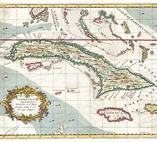 Vintage Map of Cuba and Jamaica (1763) by BravuraMedia