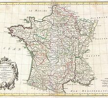 Vintage Map of France (1771)  by BravuraMedia
