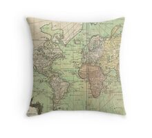 Vintage Map of The World (1778) Throw Pillow
