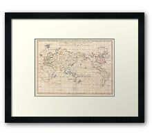 Vintage Map of The World (1799) Framed Print