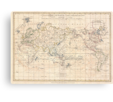 Vintage Map of The World (1799) Canvas Print