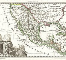 Vintage Map of Texas and Mexico Territories (1810)  by BravuraMedia