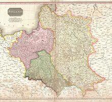 Vintage Map of Poland (1818) by BravuraMedia