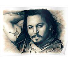 Johnny Depp drawing Poster