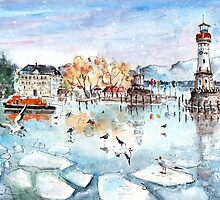 Lindau Harbour On Lake Constance by Goodaboom