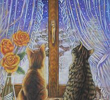 Cat Art - Cats Watching the Snow Fall by AlessandraArt