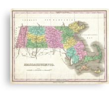 Vintage Map of Massachusetts (1827) Canvas Print