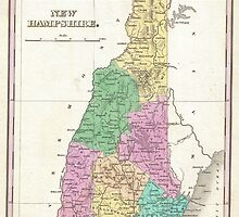 Vintage Map of New Hampshire (1827) by BravuraMedia