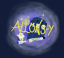 10th Doctor - Allons-y with TARDIS, sonic screwdriver and Adipose. by Mollie Gunning