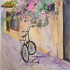 Bicycle against the wall by ISABEL ALFARROBINHA