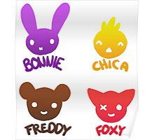 Bonnie, Chica, Foxy and Freddy Poster