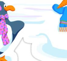 Penguins snowball fight Sticker