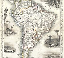 Vintage Map of South America (1850) by BravuraMedia