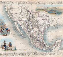 Vintage Map of Mexico (1851) by BravuraMedia