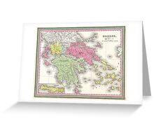Vintage Map of Greece (1853) Greeting Card